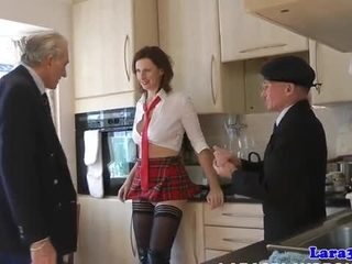 Kinky trio MILF facialized and creampied