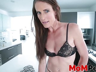 Tastey step-mom catches perverted youthfull fellow and milks his pecker