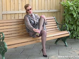 Ultra-kinky cougar strokes openly on bench in nylons garters high-heeled slippers
