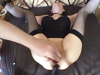 mature strapped to bed and assfucked