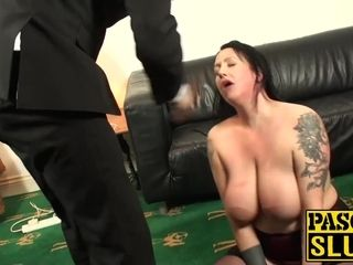 Rectally stuffed mature fuckslut gasped and spanked by sir