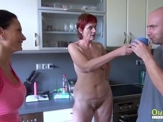 OldNannY Henrieta peeing and rigid three way fuckfest
