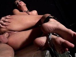 Brunette tied Liz gargles XXL rock-hard manstick &amp_ gets culo crammed with massager
