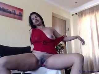 Unexperienced indian black-haired cougar camgirl wanks on web cam
