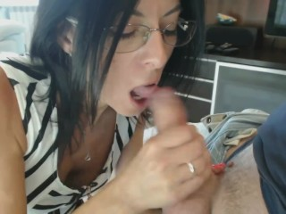 Assistant Gives foot wank to her chief