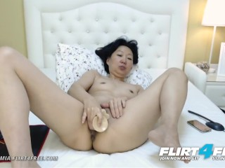 Flirt4Free - Sandra Mia - chinese cougar tempts Both Her cock-squeezing Cougar fuck holes